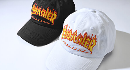 78c773383b6 All hats featuring the thrasher flame logo available in black   white