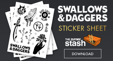 Printable Sticker Sheet - Swallows and Daggers