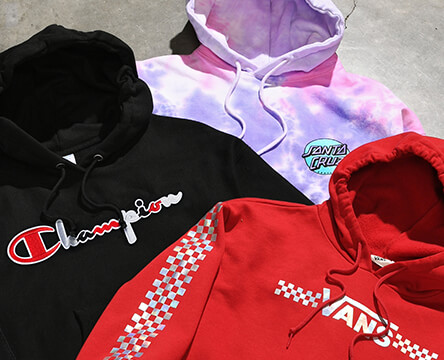 Shop hoodies and sweatshirts for women featuring new styles from top brands like Santa Cruz, Champion, Vans and more.