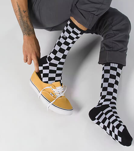 Socks featuring the black and white checkered Vans crew socks.