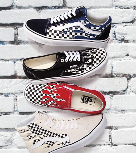 Vans checkerboard flame shoes