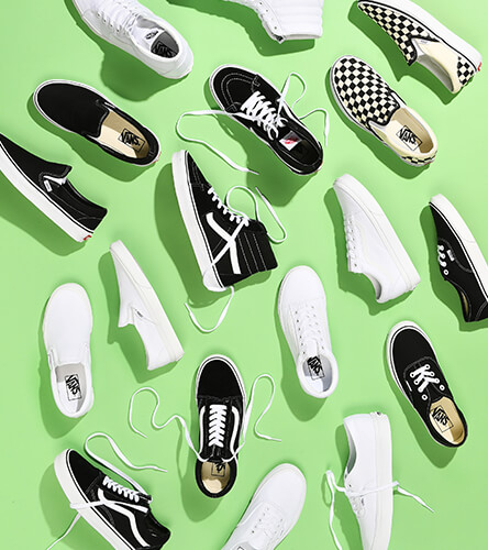 Vans Classics shoes including slip ons, old schools, Sk8 Hi, and more.
