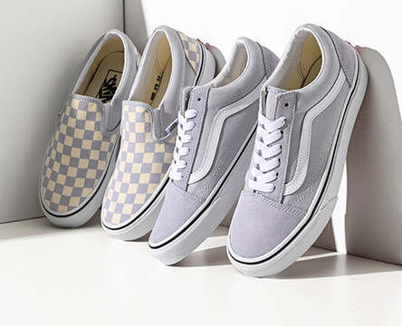 Shop shoes and footwear for women, featuring the Gray Dawn colorway in Vans styles like the checkered slip-on and solid Old Skool.