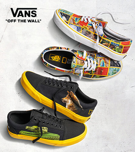 Vans and National Geographic collection featuring shoes and apparel with Nat Geo Covers plus tons of other Vans product.