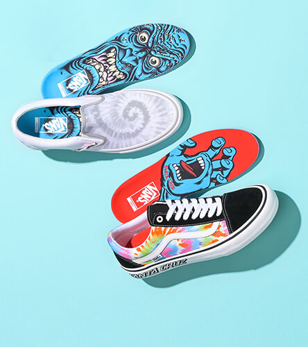 Skate shoes featuring the collaboration between Vans and Santa Cruz skateboards.