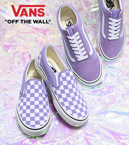 Shop Vans shoes, clothes, and accessories, featuring new spring styles like the lavender Old Skool and checkered Slip-On.