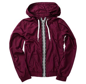 Burgundy/Tribal Print Windbreaker