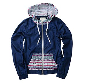 Navy/Tribal Print Windbreaker
