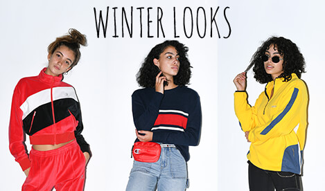 Women's outfit inspiration with looks featuring winter styles from Champion, Santa Cruz, Vans and other great brands.