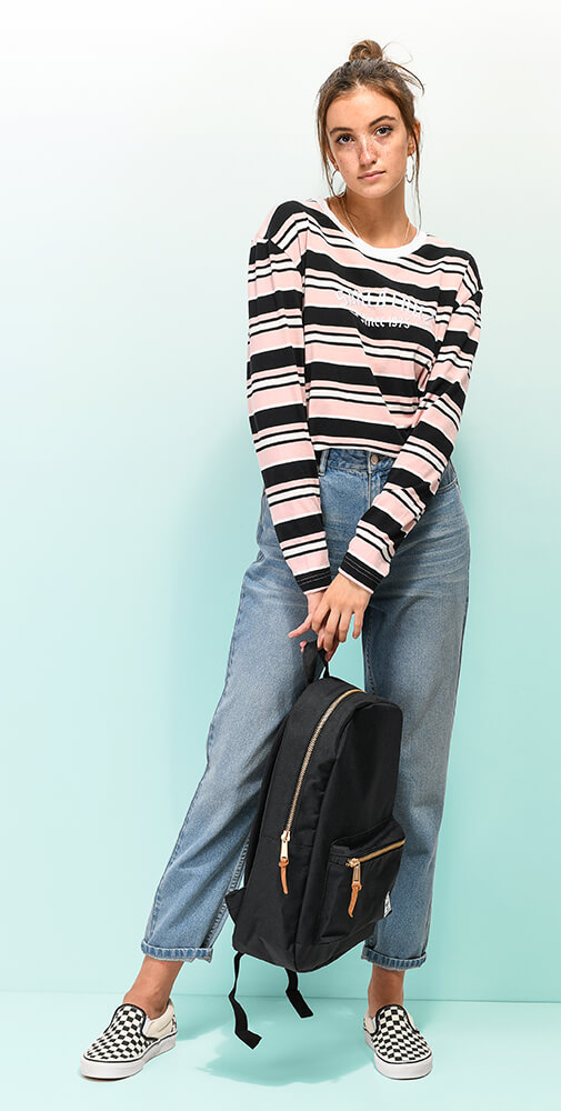 Santa Cruz Striped Tee and Unionbay Jeans and Checkered Vans Slip-Ons with Herschel Backpack
