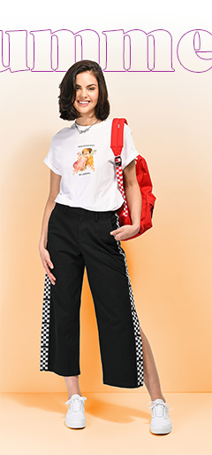 Petals and Peacocks Tee with Vans Pants and Old Skool Platforms and Red Check Backpack