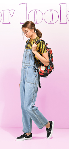 Obey Striped Shirt and Unionbay Overalls and Converse Sneakers and Herschel Backpack
