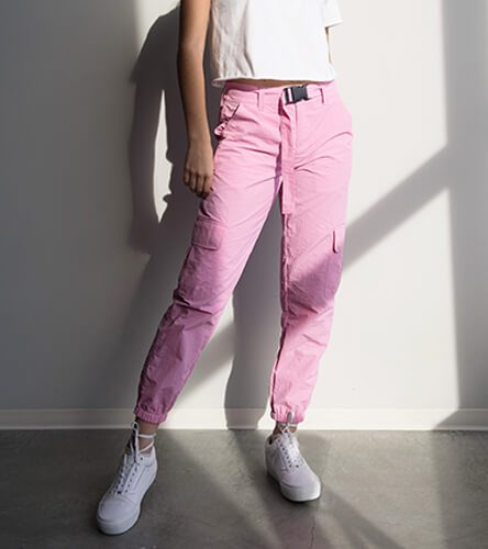 Shop all women's pants, featuring pink cargo joggers and other trendy pairs.