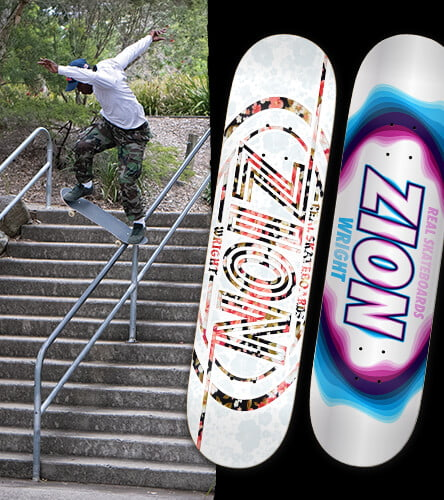 f0d64ec2c87 Skateboard decks from top brands featuring the Zion Wright pro model from  Real Skateboards. Shop Skate Decks