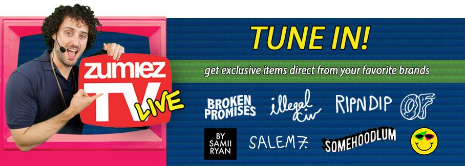 Zumiez TV live. Tune in to get exclusive items direct from your favorite brands. featuring Broken Promises, Illegal Civilization, RipNDip, and more. Click to find out more.